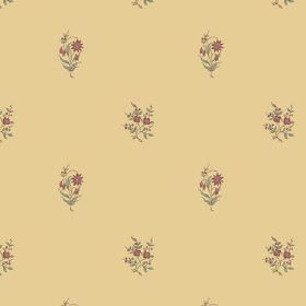 Opio (Cotton) - 1 - Cotton fabric in an unusual dusky yellow-cream colour, with occasional small bouquets of purple flowers and green leaves