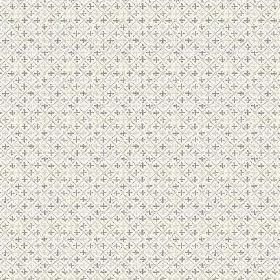 Colonia (Linen Union) - 1 - Linen fabric in white, covered with a thin grey grid and tiny crosses in two different shades of grey