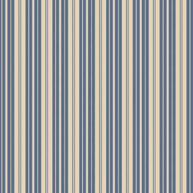 Lilies Stripe (Linen Union) - 2 - Linen fabric with blue and cream coloured stripes printed in a repeated design