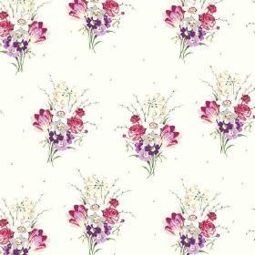 Golden Valley (Cotton) - 1 - Bouquets of pink, purple, grey and white flowers printed on white cotton fabric