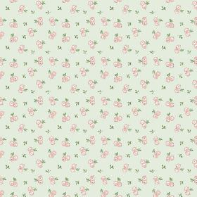 Llanstephan (Cotton) - 4 - Roses in pink and white which have been arranged in pairs with green leaves, printed on pale green cotton fabric