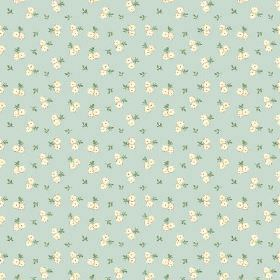 Llanstephan (Linen Union) - 5 - Pairs of tiny roses and leaves in cream and green, on linen fabric in a light blue colour