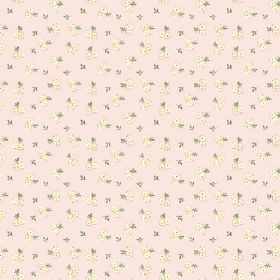 Llanstephan (Cotton) - 6 - Tiny grey leaves with pairs of round cream roses against pale pink cotton fabric