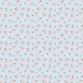 Llanstephan (Linen Union) - 7 - Pink and cream flowers and green leaves making up this light blue floral print linen fabric