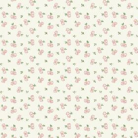 Llanstephan (Linen Union) - 9 - Tiny pink flowers and green leaves scattered as a pattern over off-white linen fabric