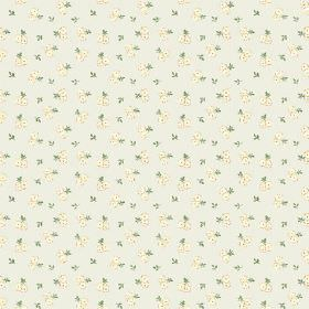Llanstephan (Linen Union) - 10 - Linen fabric in light grey, printed with pairs of cream coloured flowers and green leaves