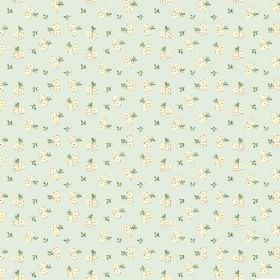 Llanstephan (Linen Union) - 11 - Green leaves and cream coloured flowers which have been arranged in pairs, printed on pale blue-grey linen
