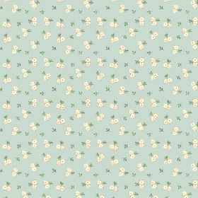 Llanstephan (Cotton) - 12 - Cotton fabric in light green-blue, scattered with miniscule green leaves and pairs of tiny cream coloured flower