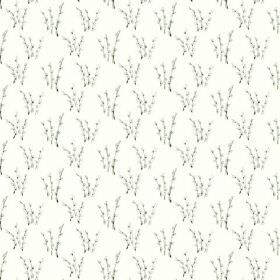 Abbey Dore (Linen Union) - 1 - Sprays of branches with very pale grey flowers on a white linen fabric background