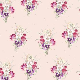 Golden Valley (Cotton) - 2 - Light pink cotton fabric covered in bouquets of pink, purple, grey and white flowers with leaves