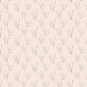 Abbey Dore (Cotton) - 2 - Sprays of branches with miniscule white flowers printed on a pale pink cotton fabric background