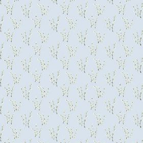 Abbey Dore (Cotton) - 3 - Fabric made from pale blue cotton, with a repeated pattern of several branches with tiny white flowers