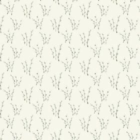 Abbey Dore (Cotton) - 4 - Almost unnoticeable white flowers on small, dark twigs, printed on white cotton fabric