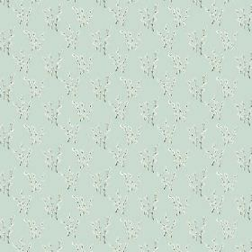 Abbey Dore (Linen Union) - 5 - Small sprigs of twig with tiny white flowers as a pattern for linen fabric in duck egg blue