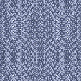 Llyswen (Cotton) - 1 - Blue-purple cotton fabric with a repeated pattern of concentric white circles
