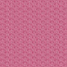 Llyswen (Cotton) - 4 - Concentric white circles printed on dark pink coloured cotton fabric