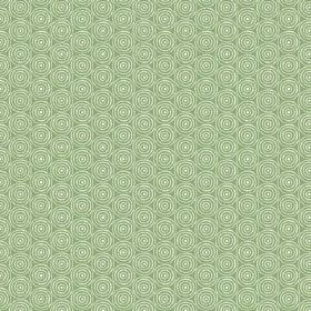 Llyswen (Cotton) - 6 - White concentric circles covering a grass green cotton fabric background