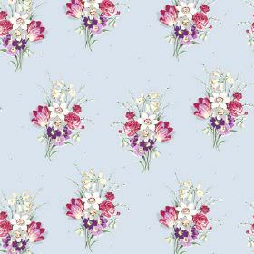 Golden Valley (Cotton) - 3 - Pink, purple, grey and white flowers arranged in bouquets and printed on cotton fabric in a very light shade of