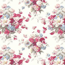 Old Radnor (Linen Union) - 1 - White linen fabric with a traditional, realistic floral design with red, pink, blue and green bouquets