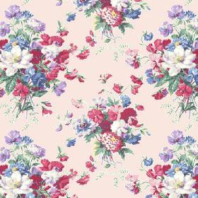 Old Radnor (Linen Union) - 2 - Linen fabric in pale pink, covered with a design of large floral bouquets in pink, red, purple, blue and gree