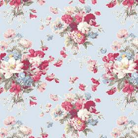 Old Radnor (Cotton) - 3 - Bouquets of realistic pink, red, blue and green flowers printed on light blue coloured cotton fabric