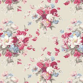 Old Radnor (Linen Union) - 4 - Bouquets of red, pink, blue and green flowers printed on a linen background the colour of stone