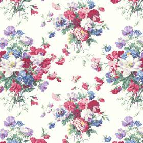 Old Radnor (Linen Union) - 5 - Linen fabric in bright white, covered in a large pattern of bouquets of purple, blue, pink, red and green flo