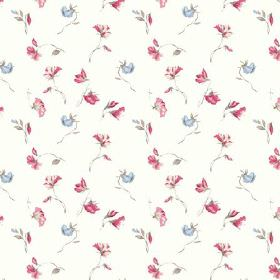 Dorstone (Linen Union) - 1 - White linen fabric with a floral pattern in light blue and dark pink shades