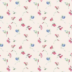 Dorstone (Linen Union) - 2 - Deep pink and mid blue coloured flowers on pale pink fabric made from linen