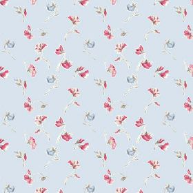 Dorstone (Cotton) - 3 - A pattern of delicate pink and blue flowers printed on very pale blue cotton fabric