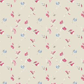 Dorstone (Cotton) - 4 - Fabric made from stone coloured cotton and patterned with a design of small blue and dark pink flowers