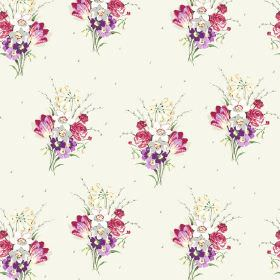 Golden Valley (Linen Union) - 4 - A bouquet floral design featuring pink, purple, white and grey shades, upon linen fabric in a crisp white