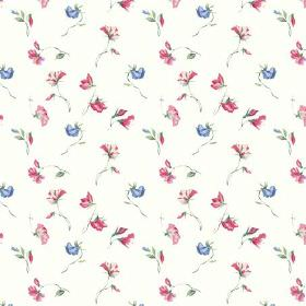 Dorstone (Cotton) - 5 - Dark pink-red and denim blue coloured flowers printed on plain white cotton fabric