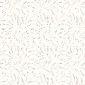 Hay Bluff Leaves (Cotton) - 1 - Cotton fabric with a subtle pattern of pink-grey fern leaves scattered on a white background