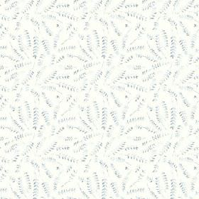 Hay Bluff Leaves (Linen Union) - 2 - Small fern leaves in different shades of grey randomly laid out over white linen fabric