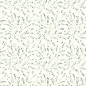 Hay Bluff Leaves (Cotton) - 3 - White cotton fabric printed with a pattern of fern leaves in variegated shades of green