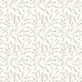 Hay Bluff Leaves (Linen Union) - 4 - Linen fabric in white as a background for a design of grey fern leaves