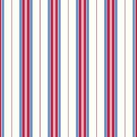 Rhulen (Cotton) - 1 - Simple stripes of red, salmon pink, cobalt blue and white on cotton fabric