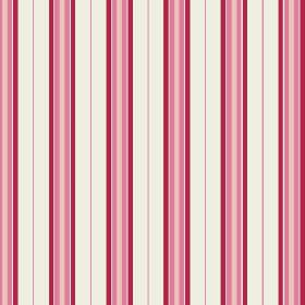 Rhulen (Cotton) - 2 - Off-white coloured cotton fabric with regular stripes in rose pink, beige and scarlet