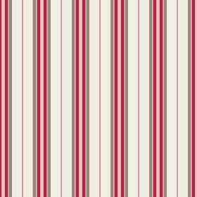 Rhulen (Cotton) - 4 - Cotton in cream, with pink, dark pink-red and grey stripes regularly printed down the length of the fabric