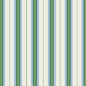 Rhulen (Cotton) - 5 - Stripes in two different shades of green beside bands of blue, printed on a white cotton fabric background