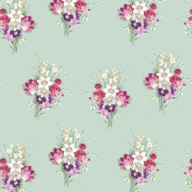 Golden Valley (Cotton) - 5 - Pink, grey, white and purple floral bouquets printed on a very pale green-blue cotton fabric background