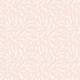 Hay Bluff (Cotton) - 1 - White fern style leaves printed over a very pale pink cotton fabric