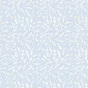 Hay Bluff (Cotton) - 2 - Light blue cotton fabric with a pattern of white fern leaves printed on it