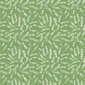 Hay Bluff (Linen Union) - 3 - Bright green linen fabric covered in fern leaf shapes in white