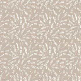 Hay Bluff (Linen Union) - 4 - Small white fern leaves printed to cover a light brown linen fabric background