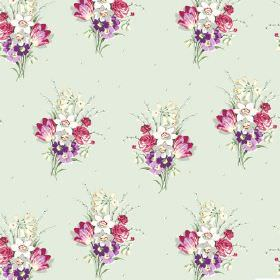 Golden Valley (Cotton) - 6 - A repeated pattern of pink and purple bouquets of flowers printed all over very pale  blue-grey cotton fabric