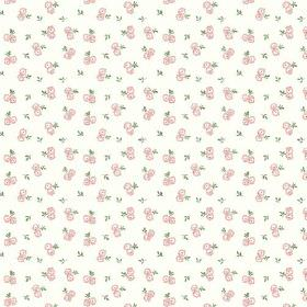 Llanstephan (Cotton) - 1 - Pairs of tiny pink roses with green leaves scattered over white cotton fabric