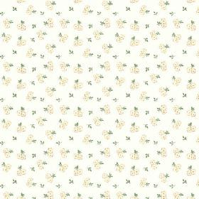 Llanstephan (Cotton) - 2 - Delicate cream roses and green leaves printed on white cotton fabric