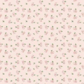 Llanstephan (Linen Union) - 3 - Pairs of pink and cream coloured flowers with green leaves scattered over light pink linen